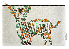 Carry-all Pouch featuring the painting Chihuahua Watercolor Painting / Typographic Art by Ayse and Deniz