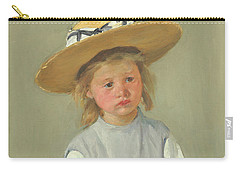 Carry-all Pouch featuring the painting Child In A Straw Hat By Mary Cassatt 1886 by Movie Poster Prints