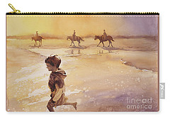 Carry-all Pouch featuring the painting Child On Beach- Ocracoke Island, Nc by Ryan Fox
