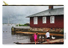 Carry-all Pouch featuring the photograph Children Playing At Harbor Essex Ct by Susan Savad