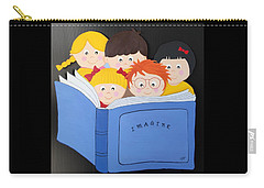 Children Reading Book Carry-all Pouch by Brenda Bonfield