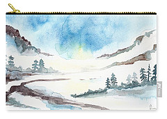 Carry-all Pouch featuring the painting Children's Book Illustration Of Mountains by Annemeet Hasidi- van der Leij