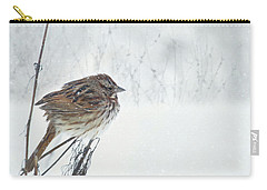 Carry-all Pouch featuring the mixed media Chilly Song Sparrow by Lori Deiter