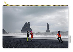 Carry-all Pouch featuring the photograph China's Tourists In Reynisfjara Black Sand Beach, Iceland by Dubi Roman
