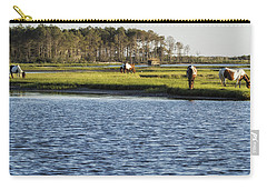 Carry-all Pouch featuring the photograph Chincoteague Ponies On Assateague Island by Belinda Greb