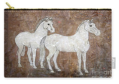 Carry-all Pouch featuring the drawing Chinese Horses by Nareeta Martin