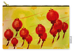 Carry-all Pouch featuring the painting Chinese Lanterns by Maria Langgle