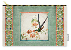 Chinoiserie Vintage Hummingbirds N Flowers 3 Carry-all Pouch by Audrey Jeanne Roberts