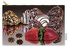 Chocolate And Strawberries Carry-all Pouch by Shirley Mangini