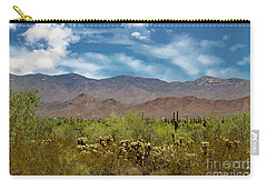 Carry-all Pouch featuring the photograph Cholla Saguaro And The Mountains by Anne Rodkin