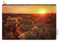 Carry-all Pouch featuring the photograph Cholla Sunset In The Sonoran  by Saija Lehtonen