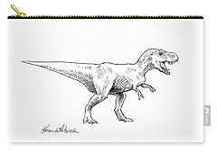 Tyrannosaurus Rex Dinosaur T-rex Ink Drawing Illustration Carry-all Pouch by Karen Whitworth