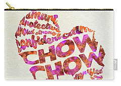 Carry-all Pouch featuring the painting Chow Chow Watercolor Painting / Typographic Art by Ayse and Deniz