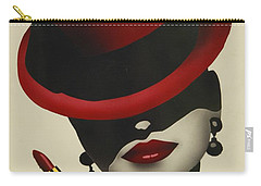 Carry-all Pouch featuring the painting Christion Dior Red Hat Lady by Jacqueline Athmann