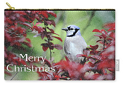 Christmas And Blue Jay Carry-all Pouch by Trina Ansel