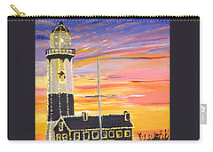 Christmas At The Lighthouse Carry-all Pouch by Donna Blossom