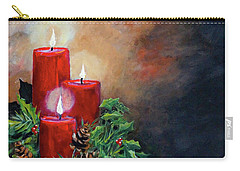 Carry-all Pouch featuring the painting Christmas Candles by Alan Lakin