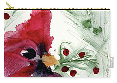Carry-all Pouch featuring the painting Christmas Cardinal by Dawn Derman