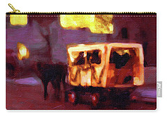 Carry-all Pouch featuring the painting Christmas Carriage Ride In Vienna by Menega Sabidussi