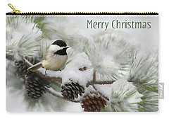 Carry-all Pouch featuring the photograph Christmas Chickadee by Lori Deiter