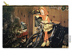 Christmas Doll And Bicycle, 1950's Carry-all Pouch by Wernher Krutein