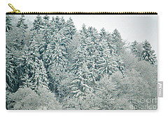 Carry-all Pouch featuring the photograph Christmas Forest - Winter In Switzerland by Susanne Van Hulst