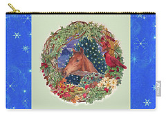 Christmas Horse And Holiday Wreath Carry-all Pouch