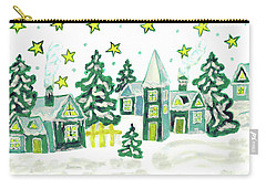 Christmas Picture In Green Carry-all Pouch by Irina Afonskaya