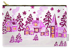 Christmas Picture In Pink Colours Carry-all Pouch