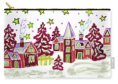 Christmas Picture In Red Carry-all Pouch by Irina Afonskaya