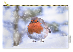 Carry-all Pouch featuring the photograph Christmas Robin by Scott Carruthers