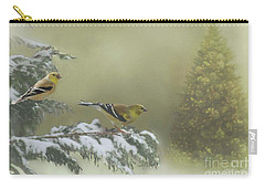 Christmas With The Goldfinches Carry-all Pouch by Janette Boyd