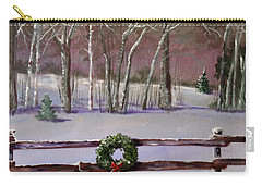 Christmas Wreath On Fence  Carry-all Pouch