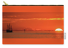 Christopher Columbus Sailing Ship Nina Sails Off Into The Sunset Panoramic Carry-all Pouch