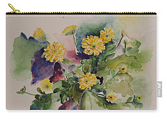 Chrysanthemum Flowers Still Life In Watercolor Carry-all Pouch