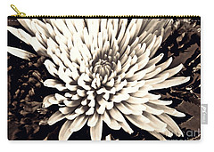 Carry-all Pouch featuring the photograph Chrysanthemum In Sepia 2  by Sarah Loft