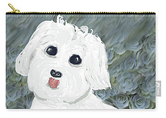 Carry-all Pouch featuring the painting Chubby Puppy by Rosalie Scanlon