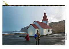Carry-all Pouch featuring the photograph Church Above Reynisfjara Black Sand Beach, Iceland by Dubi Roman
