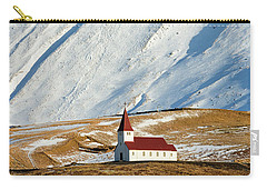 Carry-all Pouch featuring the photograph Church And Mountains In Winter Vik Iceland by Matthias Hauser