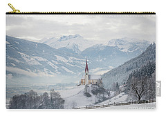 Church In Alpine Zillertal Valley In Winter Carry-all Pouch