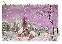Carry-all Pouch featuring the digital art Church In The Snow by Darren Cannell