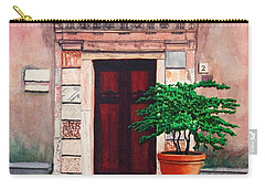 Church Side Door - Taormina Sicily Carry-all Pouch by Mike Robles