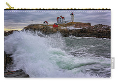 Carry-all Pouch featuring the photograph Churning Seas At Cape Neddick by Rick Berk