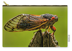 Cicada On Fence Post Carry-all Pouch by Jim Moore