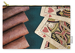 Carry-all Pouch featuring the photograph Cigars And Playing Cards  by Andrey  Godyaykin