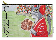 Carry-all Pouch featuring the painting Cinci Reds Cat by Diane Pape