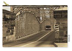 Cincinnati - Roebling Bridge 1 Sepia Carry-all Pouch by Frank Romeo