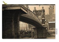 Cincinnati - Roebling Bridge 2 Sepia Carry-all Pouch by Frank Romeo