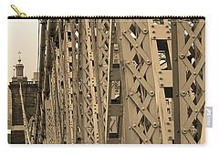 Cincinnati - Roebling Bridge 3 Sepia Carry-all Pouch by Frank Romeo