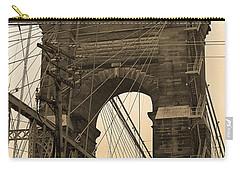 Cincinnati - Roebling Bridge 4 Sepia Carry-all Pouch by Frank Romeo